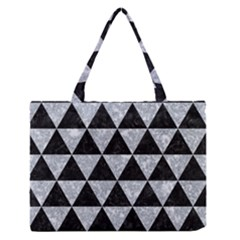 Triangle3 Black Marble & Gray Marble Medium Zipper Tote Bag