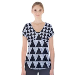 Triangle2 Black Marble & Gray Marble Short Sleeve Front Detail Top