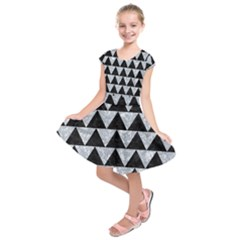 Triangle2 Black Marble & Gray Marble Kids  Short Sleeve Dress