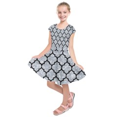 Tile1 Black Marble & Gray Marble (r) Kids  Short Sleeve Dress