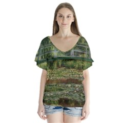 The Japanese Footbridge by Claude Monet Flutter Sleeve Top