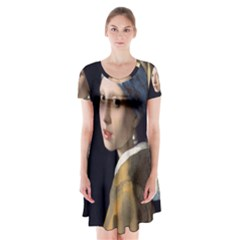 Girl With A Pearl Earring Short Sleeve V Neck Flare Dress