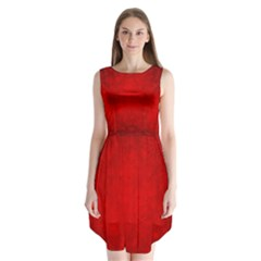 Decorative Red Christmas Background With Snowflakes Sleeveless Chiffon Dress