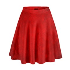 Decorative Red Christmas Background With Snowflakes High Waist Skirt