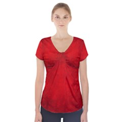 Decorative Red Christmas Background With Snowflakes Short Sleeve Front Detail Top