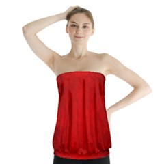 Decorative Red Christmas Background With Snowflakes Strapless Top