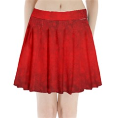 Decorative Red Christmas Background With Snowflakes Pleated Mini Skirt