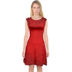 Decorative Red Christmas Background With Snowflakes Capsleeve Midi Dress