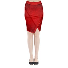 Decorative Red Christmas Background With Snowflakes Midi Wrap Pencil Skirt