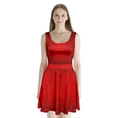 Decorative Red Christmas Background With Snowflakes Split Back Mini Dress