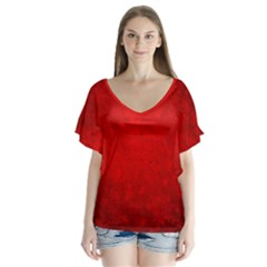 Decorative Red Christmas Background With Snowflakes Flutter Sleeve Top