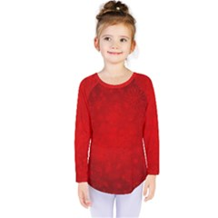 Decorative Red Christmas Background With Snowflakes Kids  Long Sleeve Tee