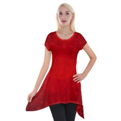 Decorative Red Christmas Background With Snowflakes Short Sleeve Side Drop Tunic