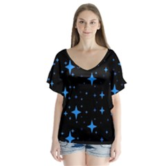 Bright Blue  Stars In Space Flutter Sleeve Top