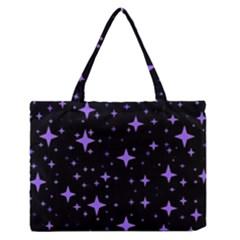 Bright Purple   Stars In Space Medium Zipper Tote Bag