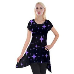 Bright Purple   Stars In Space Short Sleeve Side Drop Tunic