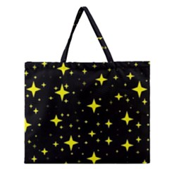 Bright Yellow   Stars In Space Zipper Large Tote Bag