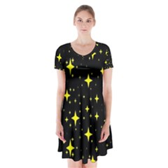 Bright Yellow   Stars In Space Short Sleeve V Neck Flare Dress