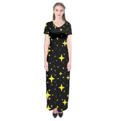 Bright Yellow   Stars In Space Short Sleeve Maxi Dress