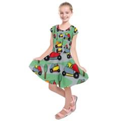 Toy Car Pattern Kids  Short Sleeve Dress