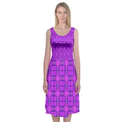 Abstract Dancing Diamonds Purple Violet Midi Sleeveless Dress