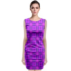 Abstract Dancing Diamonds Purple Violet Classic Sleeveless Midi Dress