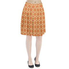 Peach Pineapple Abstract Circles Arches Pleated Skirt