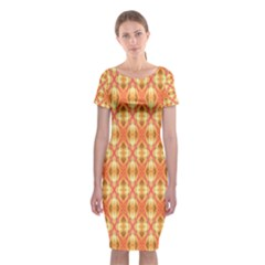 Peach Pineapple Abstract Circles Arches Classic Short Sleeve Midi Dress