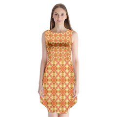 Peach Pineapple Abstract Circles Arches Sleeveless Chiffon Dress