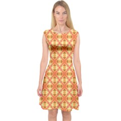 Peach Pineapple Abstract Circles Arches Capsleeve Midi Dress