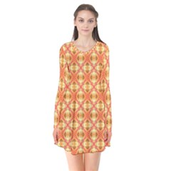 Peach Pineapple Abstract Circles Arches Flare Dress