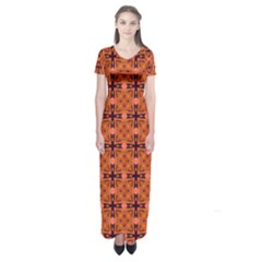 Peach Purple Abstract Moroccan Lattice Quilt Short Sleeve Maxi Dress