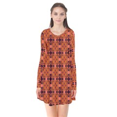 Peach Purple Abstract Moroccan Lattice Quilt Flare Dress