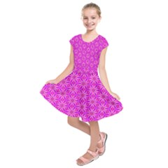 Pink Snowflakes Spinning In Winter Kids  Short Sleeve Dress