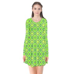 Vibrant Abstract Tropical Lime Foliage Lattice Flare Dress