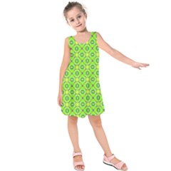 Vibrant Abstract Tropical Lime Foliage Lattice Kids  Sleeveless Dress