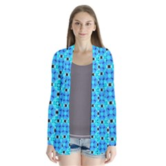 Vibrant Modern Abstract Lattice Aqua Blue Quilt Cardigans