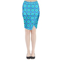 Vibrant Modern Abstract Lattice Aqua Blue Quilt Midi Wrap Pencil Skirt