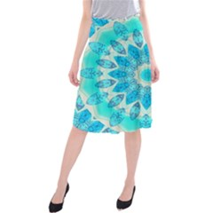 Blue Ice Goddess, Abstract Crystals Of Love Midi Beach Skirt