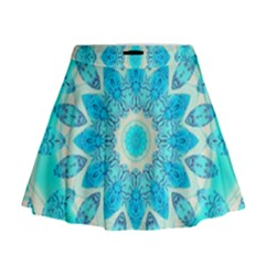 Blue Ice Goddess, Abstract Crystals Of Love Mini Flare Skirt