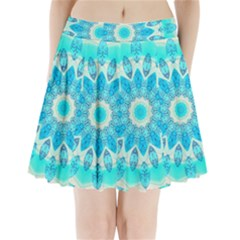 Blue Ice Goddess, Abstract Crystals Of Love Pleated Mini Skirt