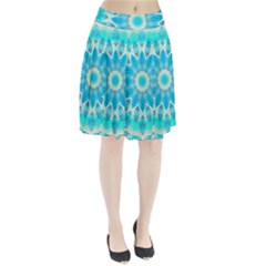 Blue Ice Goddess, Abstract Crystals Of Love Pleated Skirt