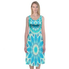 Blue Ice Goddess, Abstract Crystals Of Love Midi Sleeveless Dress