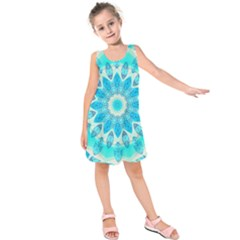 Blue Ice Goddess, Abstract Crystals Of Love Kids  Sleeveless Dress