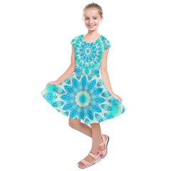 Blue Ice Goddess, Abstract Crystals Of Love Kids  Short Sleeve Dress