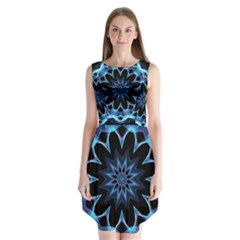 Crystal Star, Abstract Glowing Blue Mandala Sleeveless Chiffon Dress