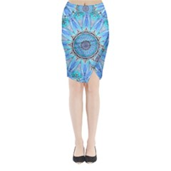 Sapphire Ice Flame, Light Bright Crystal Wheel Midi Wrap Pencil Skirt