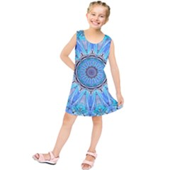 Sapphire Ice Flame, Light Bright Crystal Wheel Kids  Tunic Dress
