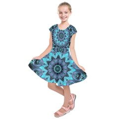 Star Connection, Abstract Cosmic Constellation Kids  Short Sleeve Dress