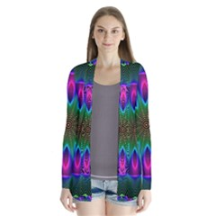 Star Of Leaves, Abstract Magenta Green Forest Cardigans